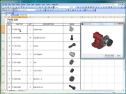 Parts list browsing with 3D model