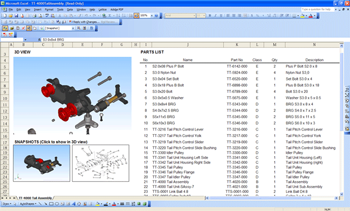 Interactive 3D model linked to a parts list